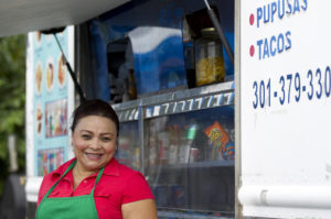 Laurel Food Trucks Daisy Martinez of Jessup poses for a photo outside of Los Pinos. (Staff photo by Jen Rynda, Baltimore Sun Media Group /August 21, 2014)