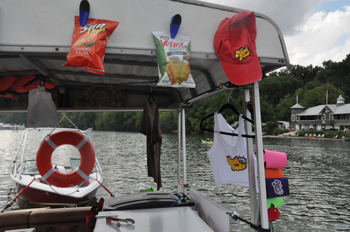 The Nauti Foods boat is anchored near the Key Bridge on Saturdays and Sundays from about 12:30 to 8 p.m. (WTOP/Rachel Nania)