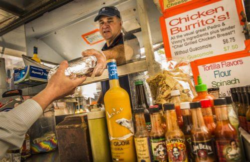 John Rider, owner of Pedro & Vinny's burrito cart parked at 15th and K Streets NW. (Jeffrey MacMillan/Jeffrey MacMillan )