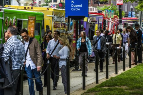 The District's Farragut Square has been a magnet for food trucks at lunchtime. Under new city regulations, vendors must enter a lottery for the right to park there and at other popular spots. (Jeffrey MacMillan/Jeffrey MacMillan )