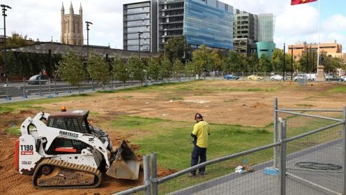 Damaged turf in Victoria Square after the Royal Croquet Club was taken down. Picture: Stephen Laffer Source: News Corp Australia