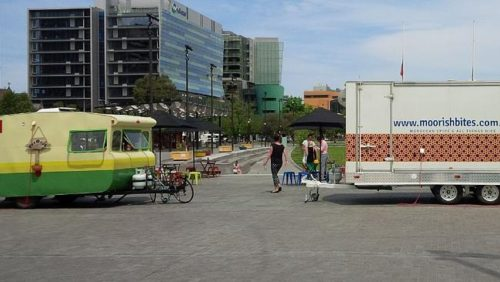 Mobile food vans in Victoria Square. Source: Supplied