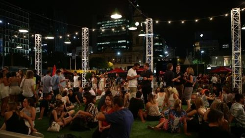 Fringe-goers enjoy at the Royal Croquet Club earlier this month.   Picture Dylan Coker Source: News Corp Australia