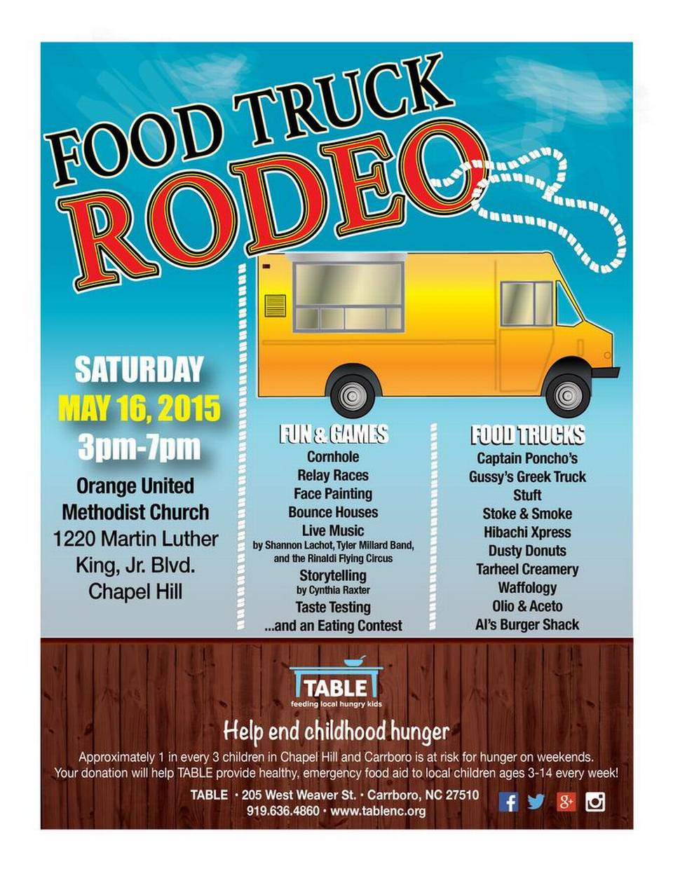 Chapel Hill, NC: Food truck rodeo on May 16 in Chapel Hill