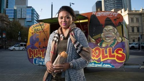 Sokha Khun with her food truck Phat Buddha, which she runs with Joel Schulz, in Victoria Square.