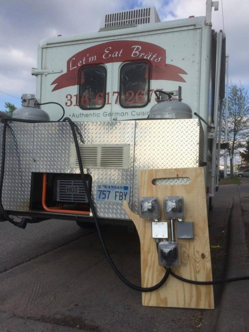Let'm Eat Brats and other food trucks now can plug in at Reverie Coffee Roasters, meaning there's no need for  their noisy, gas-guzzling generator. COURTESY