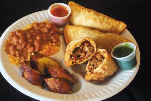 A dinner plate prepared by Roy Pelaez of Island Empanada.  Photo by Steve Mahoney
