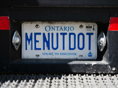 A view of the license plate at Me.n.u Food Truck. Tyler Anderson / National Post