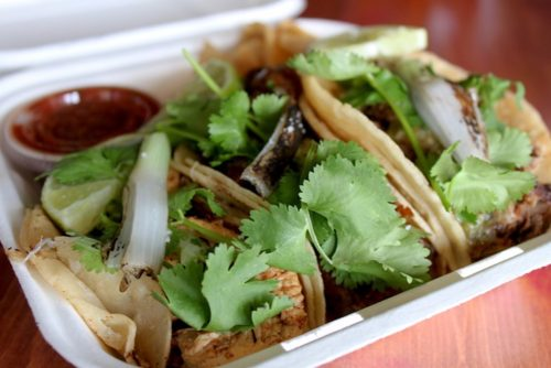 A selection of three tacos from The Taco and Dilla Parlor menu. Lauren Saria