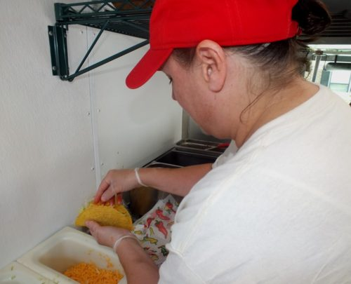 Student nutrition staff prepared tacos with fresh ingredients. (photo by Rachel Ham)