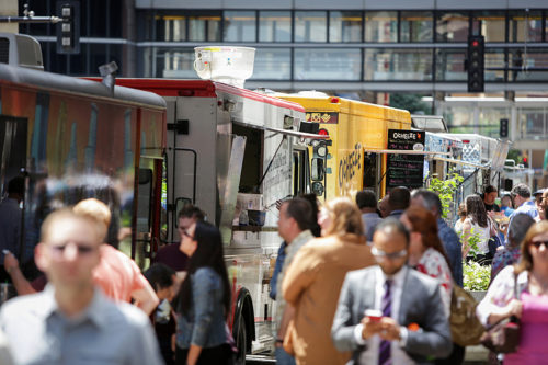 Food trucks lined Second Avenue near Sixth Street in downtown Minneapolis on a recent Friday. Jennifer Simonson | MPR News