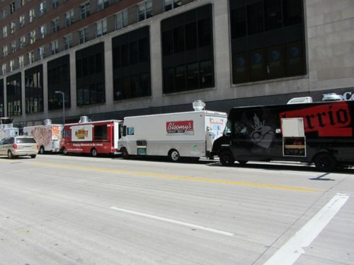 Food trucks line up in downtown Minneapolis, but not in downtown Rochester. Jason Riedy