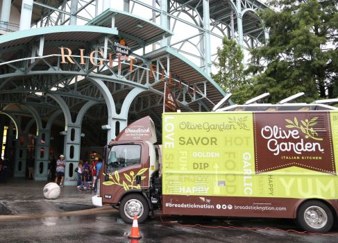 Photo By Dylan Aguilar/Houston Chronicle  The Olive Garden Breadstick Nation Food Truck pulled up in front of the entrance to Minute Maid Park to hand out free samples. Wednesday, July 1, 2015, in Houston.