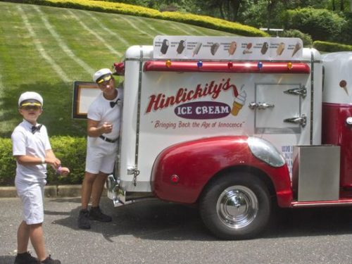 Mark Hinlicky and his 10-year-old son Alex with their antique ice cream truck. (Photo: Peter Ackerman/Staff Photographer)