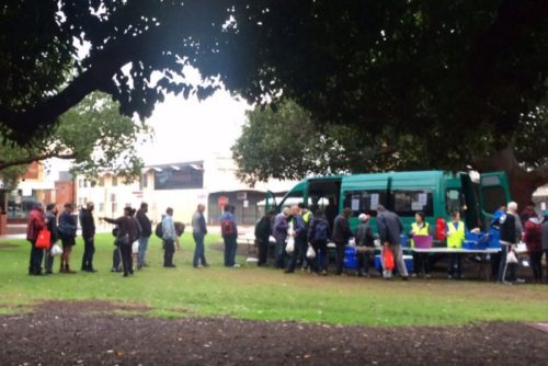 PHOTO: Manna provides meals to disadvantaged and homeless people in Weld Square in Northbridge, Perth. (ABC News: Irena Ceranic)