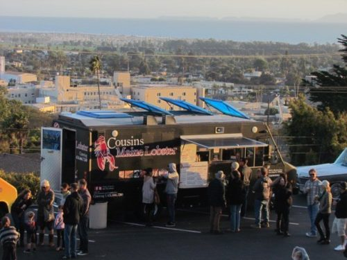 The monthly Foothill Food Truck Fest event at Poinsettia Pavilion in Ventura includes views of the coastline.