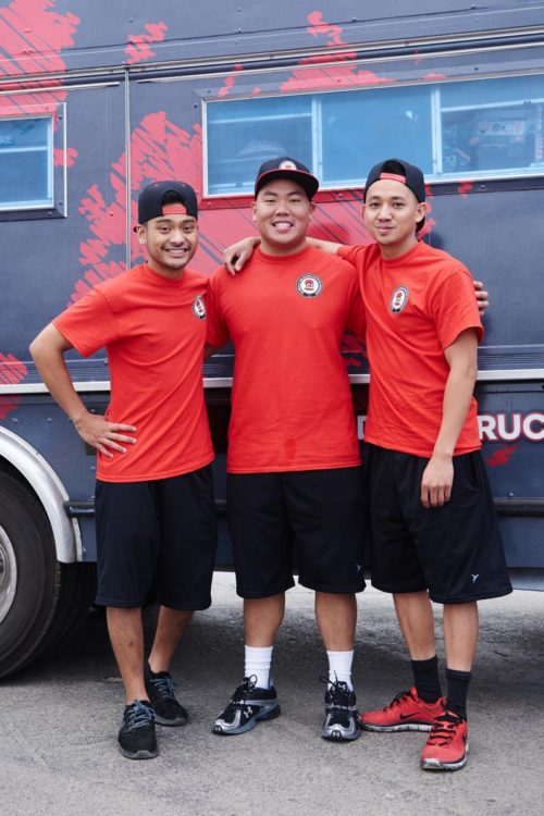 eam GD Bro Truck's Mark Cruz, Kevin Nguyen and Geoffrey Manilla in front of their truck, as seen  on Food Network's The Great Food Truck Race, Season 6.