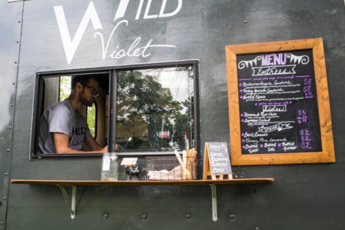 Patrick Gauthier waits for customers at Wild Violet, a new food truck in the Ann Arbor Area Friday August 14, 2015 in Ann Arbor, Michigan. Dominic Valente | The Ann Arbor News