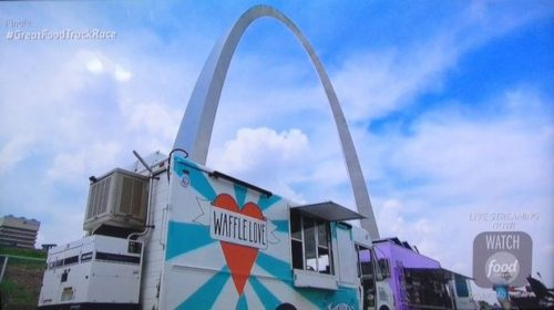 "The Waffle Love food truck is parked at the Gateway Arch in the finale of ""The Great Food Truck Race,"" which aired Sunday, Sept. 27."