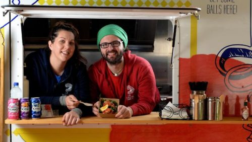 Delectaballs food truck owners Christina Adamczyk and David Porcaro.