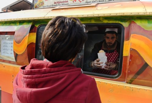When the first Lazeez food truck arrived in Kabul many  mistook it for a rickshaw and wanted to hail a ride. (AFP)