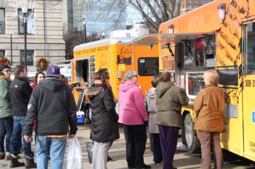 Several people headed to the food trucks at the Worcester Common for their lunch breaks