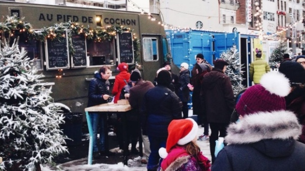 Montreal, CAN: Montreal food trucks operating through snow and cold