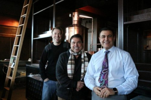 Whiskey on Water owners (from left) Kurt Friel, Mark Erlich and Michael Erlich prepare to open the new bar next month.