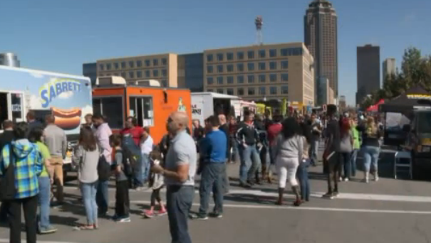Des Moines, IA: The lines were as full as people's stomachs at the Food Truck Frenzy in Temple on Saturday.
