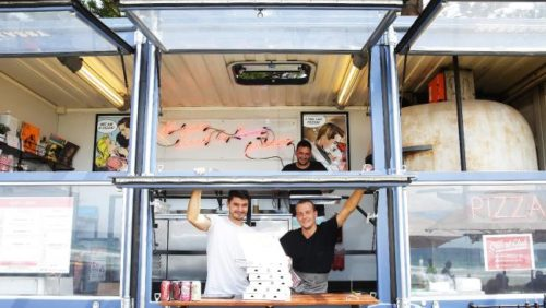 Elaborate food trucks are all the rage, such  as the Happy as Larry Sydney truck  seen here in Manly. Picture: Braden FastierSource:News Corp Australia
