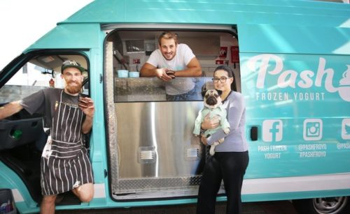 Food Truck Rumble collaborators David Bignell, Matt Suter and Sarah Sander with Homer Pugalicious at the Pash food van. Picture: Sharon Smith/The West Australian