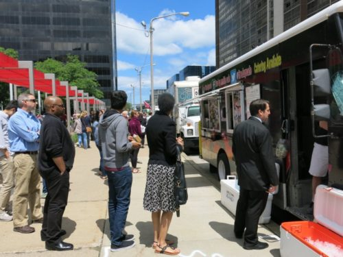 Crowds line up outside several food trucks at Walnut Wednesday on June 8, 2016. Nominate your favorite food truck to be in the running for cleveland.com's Best Food Trucks contest by 5 p.m. on Thursday, June 9. Ida Lieszkovszky, cleveland.com