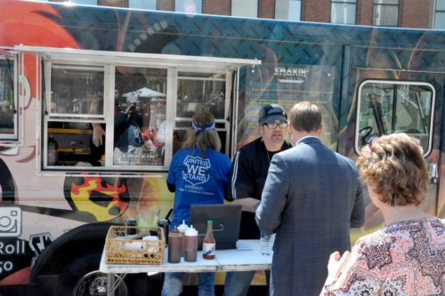 Billy Morris and Todd Chaisson at The Smokin' Rock N' Roll food truck at the first Walnut Wednesday of the year, May 4, 2016. (Jon Fobes, The Plain Dealer)