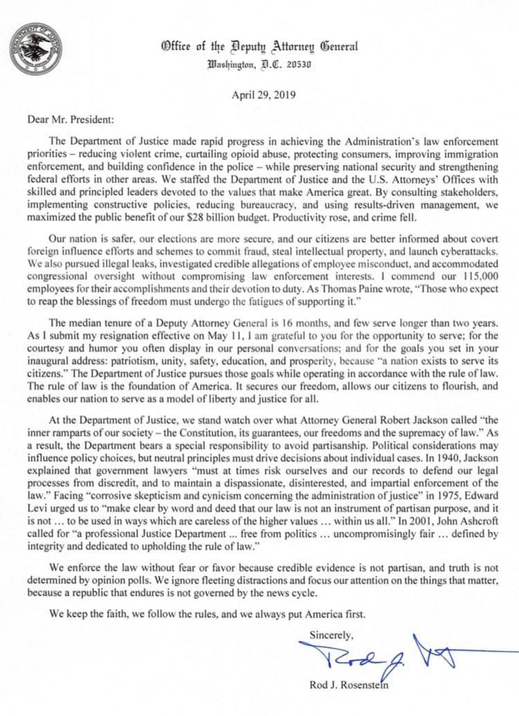 Rosenstein Sends Resignation Letter To President Trump