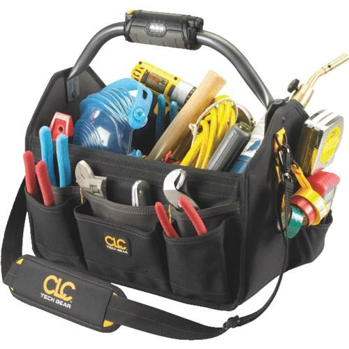 Custom Leathercraft 22-Pocket Lighted Open Top Tool Bag