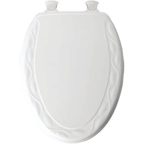 Bemis/Mayfair White Ivy Wood Elongated Toilet Seat