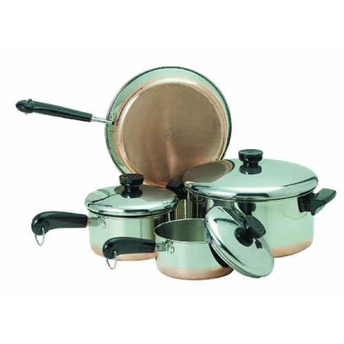 World Kitchen/Ekco Revere Stainless Steel Copper Clad Bottom 7-Piece Cookware Set