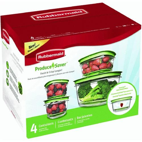 Rubbermaid Home 4 Container Produce Saver Food Storage Container Set