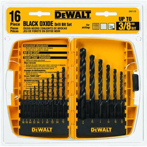 Black & Decker/DWLT DeWalt 16-Piece Black Oxide Drill Bit Set