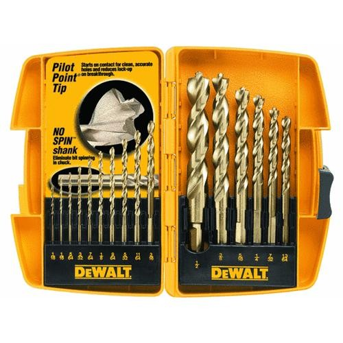 Black & Decker/DWLT DeWalt 16-Piece Pilot Point Drill Bit Set