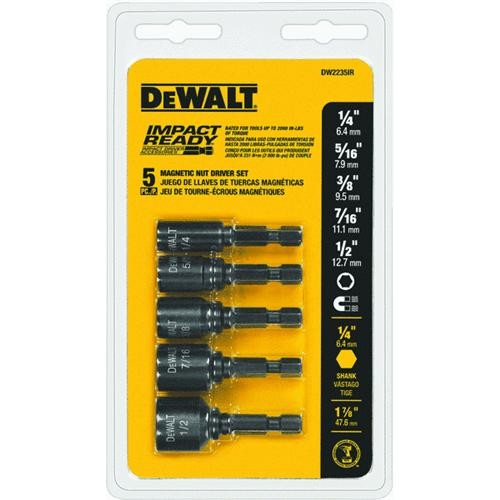 Black & Decker/DWLT DeWalt Impact Ready 5-Piece Magnetic Nutdriver Bit Set