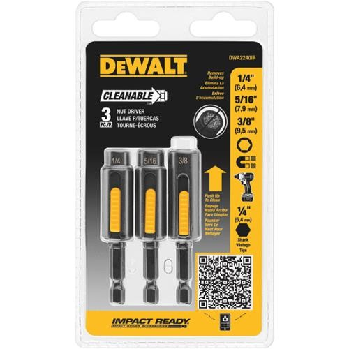 Black & Decker/DWLT DeWalt Impact Ready 3-Piece Cleanable Magnetic Nutdriver Bit Set
