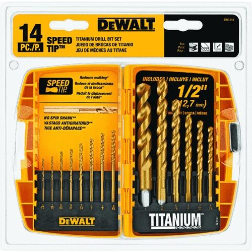 Black & Decker/DWLT DeWalt 14-Piece Titanium Speed Tip Drill Bit Set
