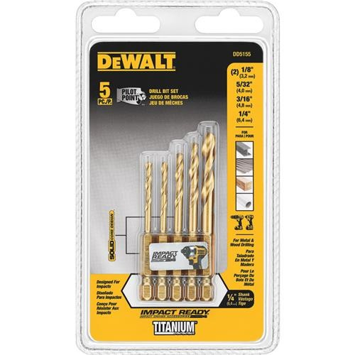 Black & Decker/DWLT DeWalt 5-Piece Impact Ready Hex Shank Drill Bit Set