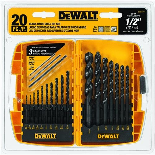 Black & Decker/DWLT DeWalt 20-Piece Black Oxide Drill Bit Set