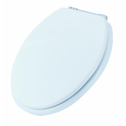 Bemis/Mayfair Round White Toilet Seat With Chrome Hinges
