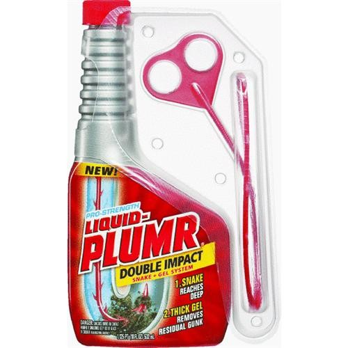 Clorox/Home Cleaning Liquid-Plumr Double Impact Liquid Drain Cleaner Snake And Gel System