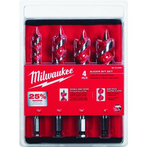 Milwaukee Accessory Milwaukee 4-Piece Spur Auger Bit Set