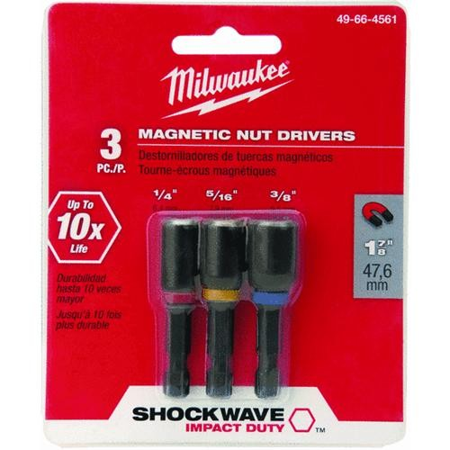 Milwaukee Accessory Milwaukee Shockwave 3-Piece Impact Magnetic Nutdriver Bit Set