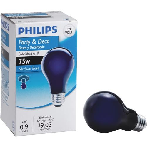 Philips Lighting Co Philips 75W A19 Incandescent Blacklight Bulb